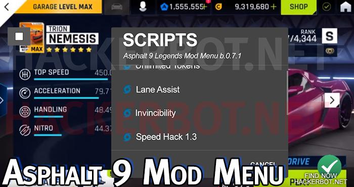 asphalt 9 mod menu android ios