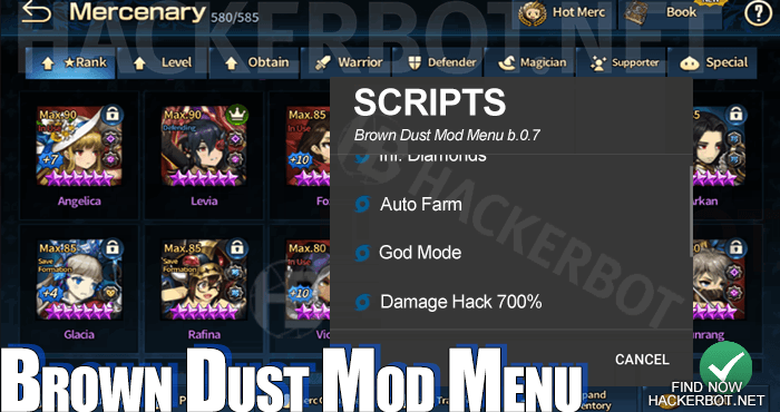 brown dust mod menu