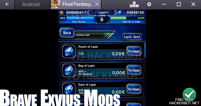 FINAL FANTASY BRAVE EXVIUS Mods, Hacks, Bots and other Cheat