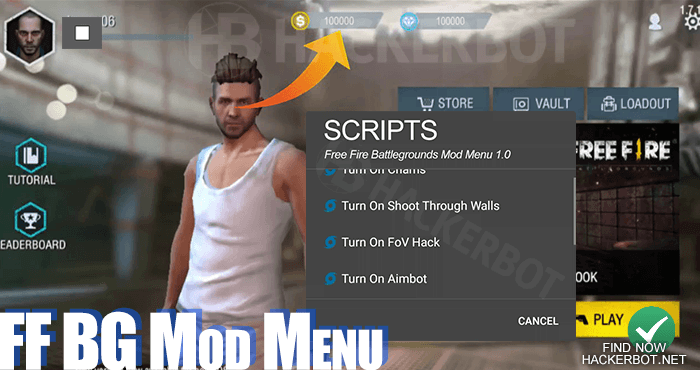 free fire battlegrounds mod menu android ios